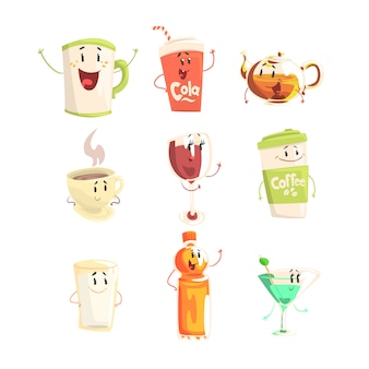 Funny cup, bottle, glass with drinks standing and smiling, set for label design. cartoon detailed illustrations