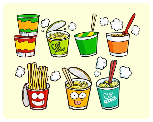 Funny cup noodles collection in kawaii doodle style