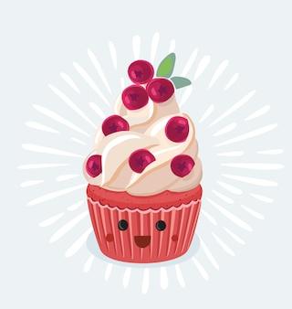 クリーム色のクランベリーのトッピング、白い背景で隔離の漫画面白いスタイルのベクトルイラストと面白いカップケーキのキャラクター。目でかわいい笑顔のカップケーキキャラクター+