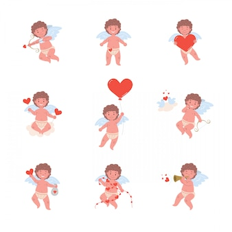 Funny cupid angel characters in different poses for valentines day