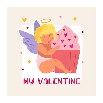 カップケーキと面白いキューピッド。エンジェル、チャイルド。男の赤ちゃん。聖バレンタインデーのグリーティングカードのデザイン。