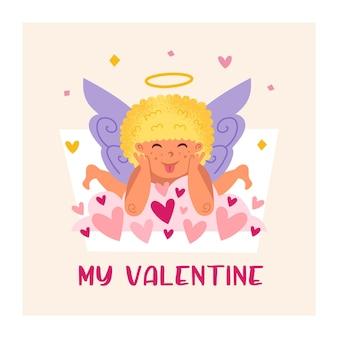 Забавный купидон с нимбом. ангел, дитя. мальчик. дизайн поздравительной открытки ко дню святого валентина.