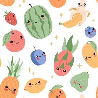 웃는 얼굴 만화 원활한 패턴으로 재미있는 귀여운 아기 과일. 행복한 카와이 열대 음식은 배경을 반복합니다. 마법의 별, 평평한 낙서 스타일의 이국적인 캐릭터. 현대 유행 벡터 일러스트 레이 션