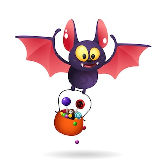 Funny cute bat carrying treats