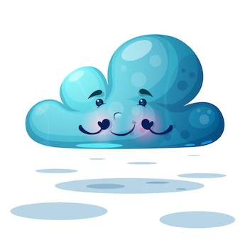 Funny cute blue cloud characters.