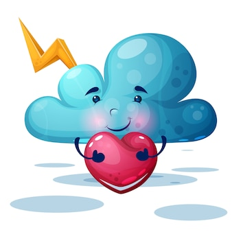 Funny, cute blue cloud characters.