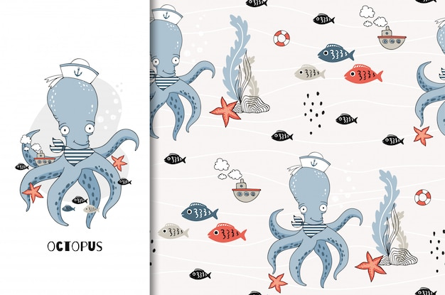Funny cute cartoon biggest octopus. card and seamless pattern set. hand drawn marine character illustration.