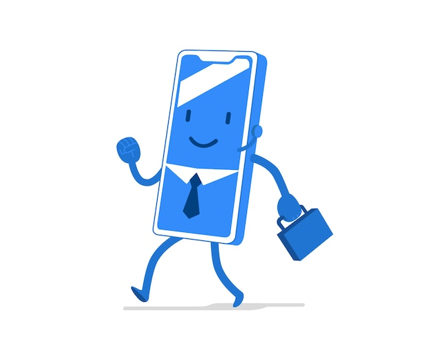 Funny, cute cartoon character for mobile application, business sector, businessman with tie and briefcase