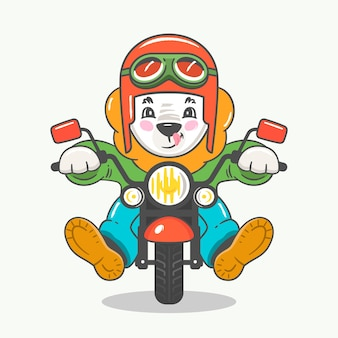 Funny cute cartoon lion character in helmet with glasses riding motorbike