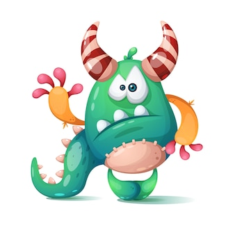 Funny cute cartoon monster dino