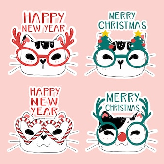 Funny cute cat face heads with set christmas glasses