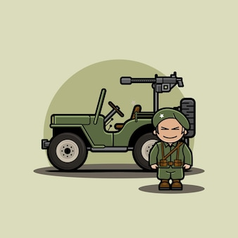 Funny cute character of chibi military vehicle armored