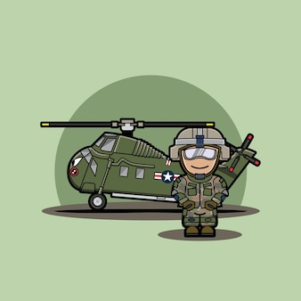 Funny cute character of chibi military vehicle helicopter with soldier