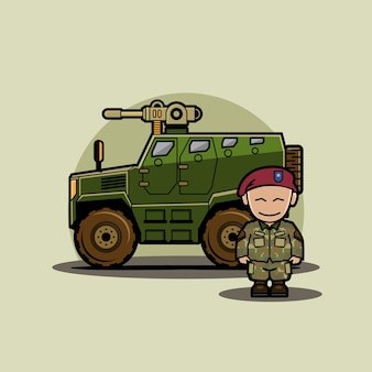 Funny cute character of chibi military vehicle humvee with soldier