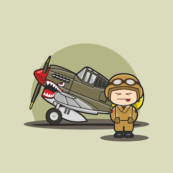 Funny cute character of chibi military vehicle plane with soldier