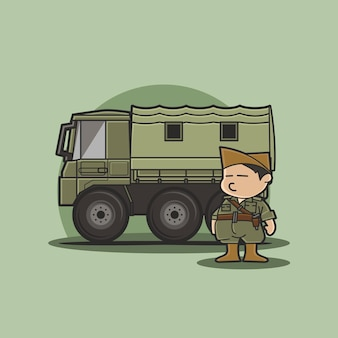 Funny cute character of chibi military vehicle truck with soldier