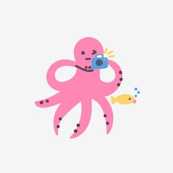 Забавный милый персонаж розовый осьминог фотографирует рыбу под водой