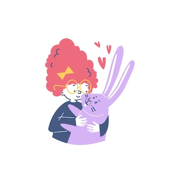 Funny cute child hugging his rabbit pet flat vector illustration isolated