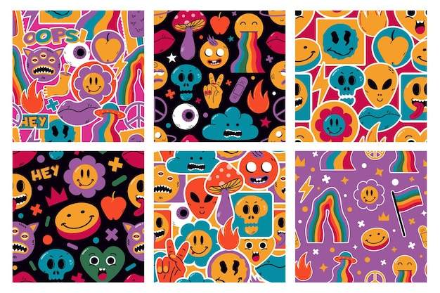 Funny cute comic stickers characters seamless patterns. cartoon cute emoji vector background illustrations. hand drawn comic shapes patterns. comic background fashion contemporary, stickers pattern