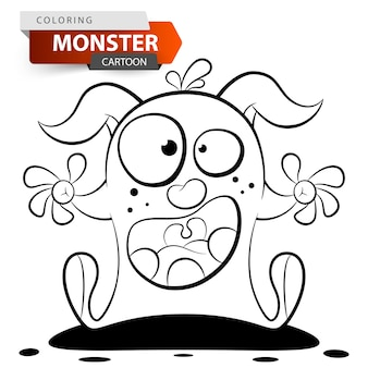 Funny, cute, crazy cartoon monster character. coloring illustration.