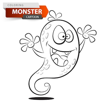 Funny cute crazy cartoon monster character.