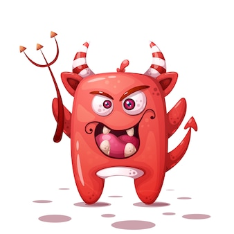 Funny, cute crazy devil character. halloween illustration.
