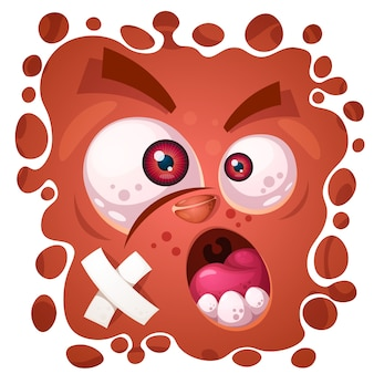 Funny, cute crazy monster character. halloween illustration. for printing on t-shirts.