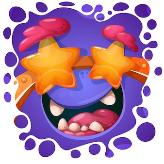 Funny, cute crazy monster character. halloween illustration.
