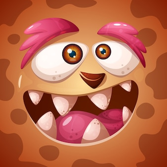 Funny, cute crazy monster character