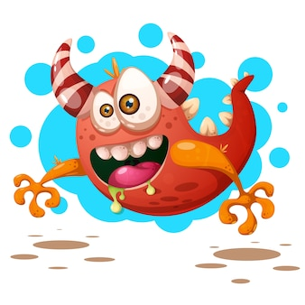 Funny, cute crazy pumpkin character. halloween illustration.