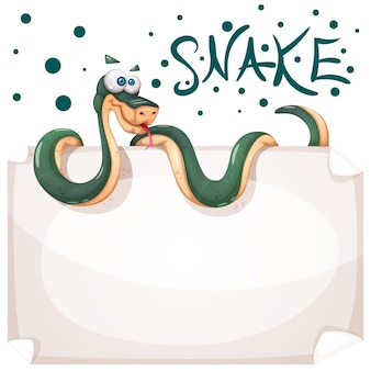 Funny, cute, crazy snake characters