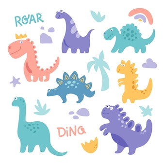 Funny cute dinosaurus clipart with rainbow palm tree stone branch isolated on white background