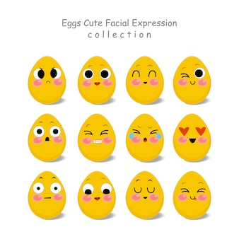 Funny and cute eggs facial character for scrapbooking