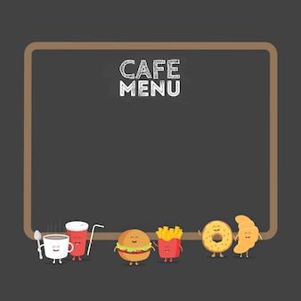 笑顔、目と手で描かれた面白いかわいいファーストフードのハンバーガー、ソーダ、フライドポテト、クロワッサンとドーナツ。キッズレストランメニュー段ボールキャラクター。