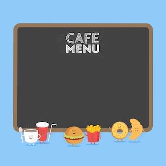 Забавный милый гамбургер быстрого питания, содовая, картофель-фри, круассан и пончик, нарисованный с улыбкой, глазами и руками. детский ресторан меню картонный персонаж.