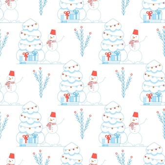 Funny cute festive xmas new year seamless pattern