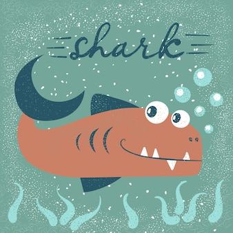 Funny, cute fish characters. sea cartoon illustration.