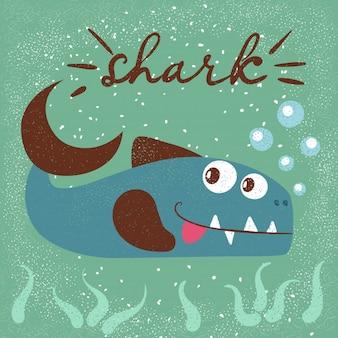 Funny, cute fish characters. sea cartoon illustration.