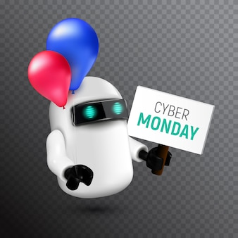 Funny and cute flying robot with red and blue balloons holding a sign in his hand. realistic  illustration to cyber monday on transparent