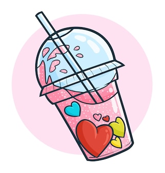 Funny and cute fresh valentine heart drink in doodle style