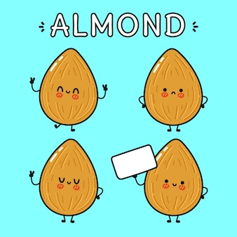 面白いかわいい幸せなアーモンドの漫画のキャラクターのバンドルセット