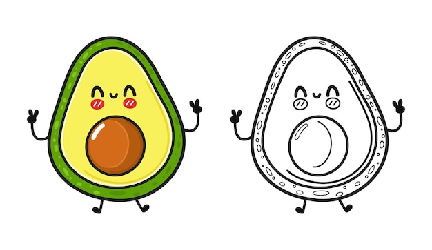 Funny cute happy avocado characters bundle set outline cartoon illustration for coloring book