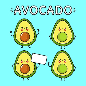 Funny cute happy avocado characters bundle set