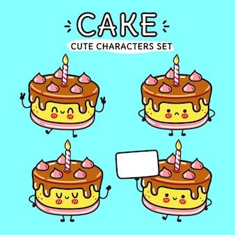 面白いかわいい幸せなケーキの漫画のキャラクターのバンドルセット Premiumベクター