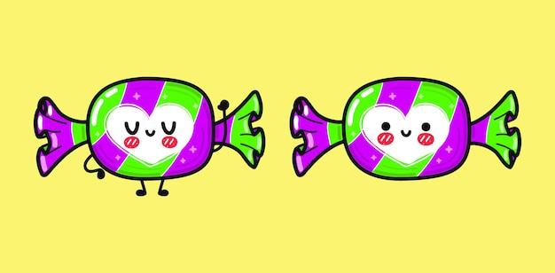 面白いかわいい幸せなキャンディーキャラクターバンドルセット