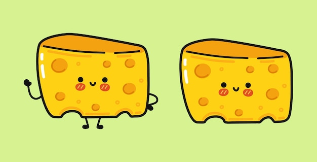 Funny cute happy cheese characters bundle set