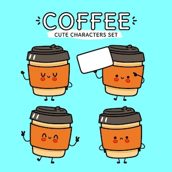 Набор забавных милых счастливых кофейных героев мультфильмов