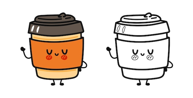 Funny cute happy coffee paper cup characters cartoon illustration for coloring book