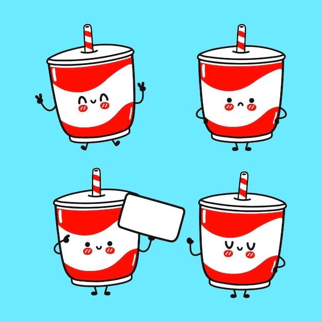 面白いかわいい幸せな冷たい飲み物のキャラクターバンドルセット