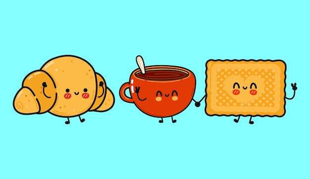 Funny cute happy cookies cup of coffee and croissant characters bundle set